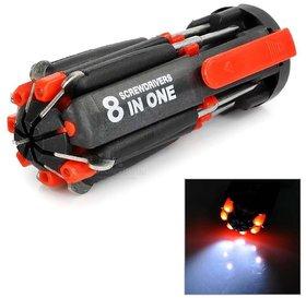 Multi-screwdriver 8 in 1 Multi-function Screwdriver Kit, Tool Kit Set + 6 LED light Torch