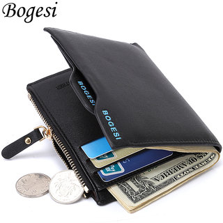 s4d Bogesi black Mens Wallet Purse Bifold Casual Mens Solid Leather Wallets Multi Pocket
