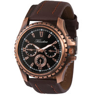 Timebre Black Round Dial Brown Leather Strap Quartz Wat