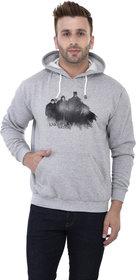 Weardo Men's Stylish Knight's Watch Printed Grey Hooded Sweatshirt