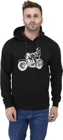 Weardo Men's Stylish Bike Printed Black Hooded Sweatshirt