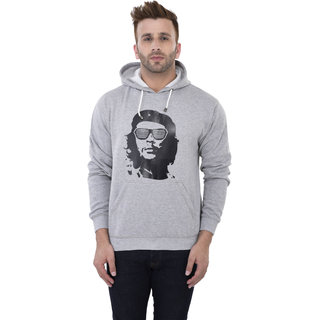 Weardo Men's Stylish Man Printed Grey Hooded Sweatshirt