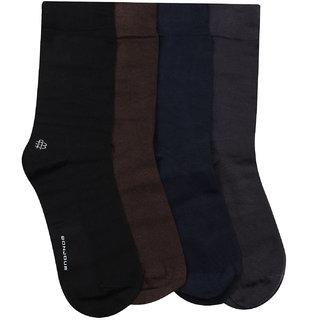 Bonjour Odour free plain Socks for Men with Bonjour logo Pack of 4 Pairs