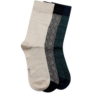 Bonjour Mens Signature Formal Cotton Socks Pack of 3 in Geometrical Pattern