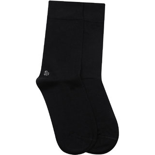 Bonjour Odour free plain Socks in 10 colors for Men with Bonjour logo -Black