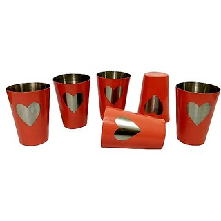 Stainless Steel Set of 6 Shot Glasses with Heart shape