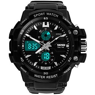SKMEI Men's Analog - Digital Sports Wrist Watch with Black Rubber Strap