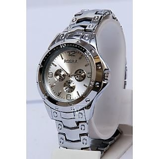 Rosara Round Dial Silver Metal Strap Quartz Watch for Men