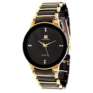 NEW BRAND Iik Stylish Golden Black Stainless Steel Analog Watch for Men's