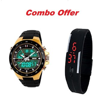 dc68ae3dc Buy Skmei Gold With Led Black Digital Watch for Men Combo Pack Of 2 Watch  Online - Get 63% Off