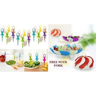 Dancing Dolls Fruit Fork 6 Pcs With Stand ( Free Lotus Shape Foldable Fruit Basket / Vegetable Basket )