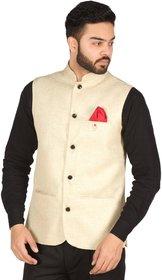 Buyshoe Men's Gold Comfort Fit Nehru Jacket