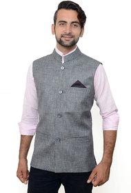 Buyshoe Men's Grey Comfort Fit Nehru Jacket