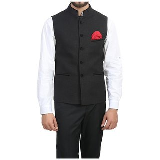 Buyshoe Men's Black Comfort Fit Nehru Jacket