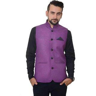 Buyshoe Men's Purple Comfort Fit Nehru Jacket