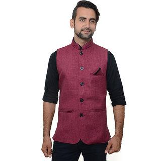 Buyshoe Men's Red Comfort Fit Nehru Jacket