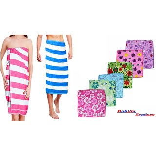 Aanand Multicolor Cotton Bath Towel Set of 1 with 6 Face Towels