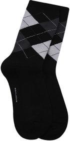 Bonjour Mens Woolen Argyle pattern Socks in 4 Colour-Black