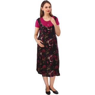 5d26479ae0 Vixenwrap Black Hot Pink Printed Maternity Dress  Buy Vixenwrap Black Hot  Pink Printed Maternity Dress Online at best Prices from ShopClues.com