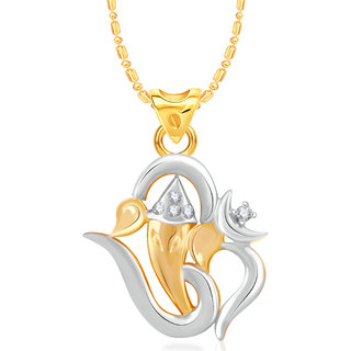 VK Jewels Om Ganesh Gold and Rhodium Plated Alloy CZ American Diamond  Pendant With Chain for Women [VKP2767G]