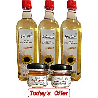 Farm Naturelle (Farm Natural Produce) Organic Virgin Cold Pressed (Kachi Ghani) Golden Sunflower Cooking Oil Pack Of 915