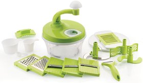 Ankur Manual Food Processor - Chopper, Blender, Atta Maker, Slicer, Peeler,15 Pieces (Green)  - Set of 1