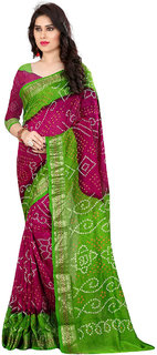Silk Bandhani saree with Un-stiched blouse