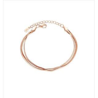 Glamorous Shiny Rose Gold Triple Snake Free Size Bracelet For Women & Girls