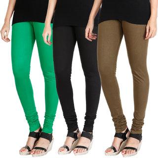 HRINKAR LIGHT GREEN BLACK MEHENDI Soft Cotton Lycra Plain leggings for womens combo Pack of 3 Size - L, XL, XXL - HLGCMB0531-L