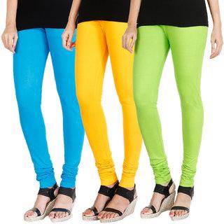 HRINKAR LIGHT BLUE MANGO YELLOW FLUROSCENT GREEN Soft Cotton Lycra Plain leggings for girls combo Pack of 3 Size - L, XL, XXL - HLGCMB0160-XXL