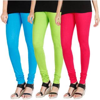 90c3c04475c8aa HRINKAR LIGHT BLUE FLUROSCENT GREEN DARK PINK Soft Cotton Lycra Plain  leggings for girls combo Pack