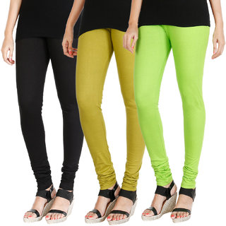 HRINKAR BLACK LIGHT GREEN FLUROSCENT GREEN Soft Cotton Lycra Plain womens leggings combo Pack of 3 Size - L, XL, XXL - HLGCMB0631-L