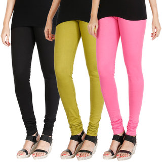 HRINKAR BLACK LIGHT GREEN LIGHT PINK Soft Cotton Lycra Plain leggings Pack of 3 Size - L, XL, XXL - HLGCMB0632-L