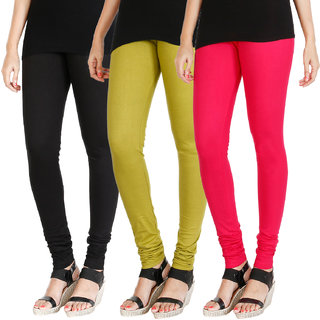 HRINKAR BLACK LIGHT GREEN DARK PINK Soft Cotton Lycra Plain leggings for womens combo Pack of 3 Size - L, XL, XXL - HLGCMB0633-L