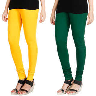 HRINKAR MANGO YELLOW BOTTLE GREEN Soft Cotton Lycra Plain leggings Pack of 2 Size - L, XL, XXL - HLGCMB0032-L