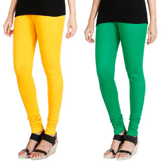 HRINKAR MANGO YELLOW LIGHT GREEN Soft Cotton Lycra Plain leggings for womens combo Pack of 2 Size - L, XL, XXL - HLGCMB0033-L