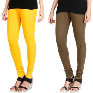 HRINKAR MANGO YELLOW MEHENDI Soft Cotton Lycra Plain leggings for womens combo Pack of 2 Size - L, XL, XXL - HLGCMB0035-L