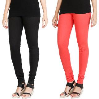 HRINKAR BLACK PEACH Soft Cotton Lycra Plain leggings for womens combo Pack of 2 Size - L, XL, XXL - HLGCMB0073-L
