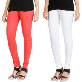HRINKAR PEACH WHITE Soft Cotton Lycra Plain womens leggings combo Pack of 2 Size - L, XL, XXL - HLGCMB0108-XL