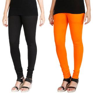 HRINKAR BLACK BRIGHT ORANGE Soft Cotton Lycra Plain leggings womens and girls combo Pack of 2 Size - L, XL, XXL - HLGCMB0074-L