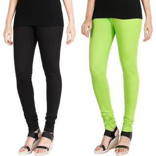 HRINKAR BLACK FLUROSCENT GREEN Soft Cotton Lycra Plain girls leggings combo Pack of 2 Size - L, XL, XXL - HLGCMB0076-L