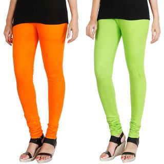 HRINKAR BRIGHT ORANGE FLUROSCENT GREEN Soft Cotton Lycra Plain girls leggings combo Pack of 2 Size - L, XL, XXL - HLGCMB0110-XXL