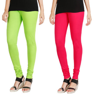 HRINKAR FLUROSCENT GREEN DARK PINK Soft Cotton Lycra Plain leggings for girls combo Pack of 2 Size - L, XL, XXL - HLGCMB0123-XL