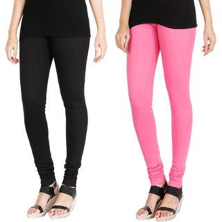 HRINKAR BLACK LIGHT PINK Soft Cotton Lycra Plain leggings Pack of 2 Size - L, XL, XXL - HLGCMB0077-XL