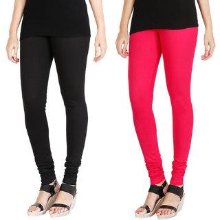 HRINKAR BLACK DARK PINK Soft Cotton Lycra Plain leggings for womens combo Pack of 2 Size - L, XL, XXL - HLGCMB0078-XL