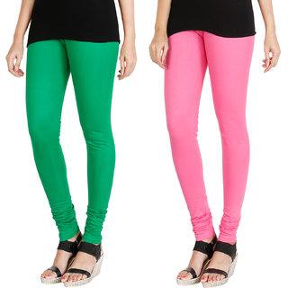 HRINKAR LIGHT GREEN LIGHT PINK Soft Cotton Lycra Plain Salwar leggings combo Pack of 2 Size - L, XL, XXL - HLGCMB0066-XL