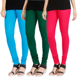HRINKAR LIGHT BLUE BOTTLE GREEN DARK PINK Soft Cotton Lycra Plain womens leggings combo Pack of 3 Size - L, XL, XXL - HLGCMB0175-L