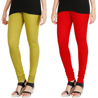 HRINKAR LIGHT GREEN RED Soft Cotton Lycra Plain leggings for womens combo Pack of 2 Size - L, XL, XXL - HLGCMB0120-XL