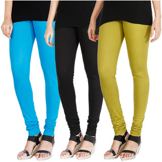 HRINKAR LIGHT BLUE BLACK LIGHT GREEN Soft Cotton Lycra Plain leggings for womens combo Pack of 3 Size - L, XL, XXL - HLGCMB0195-L