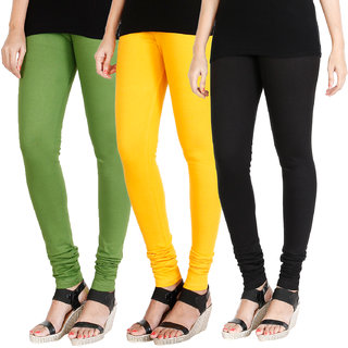 HRINKAR LIGHT GREEN MANGO YELLOW BLACK Soft Cotton Lycra Plain leggings for womens combo Pack of 3 Size - L, XL, XXL - HLGCMB0259-L
